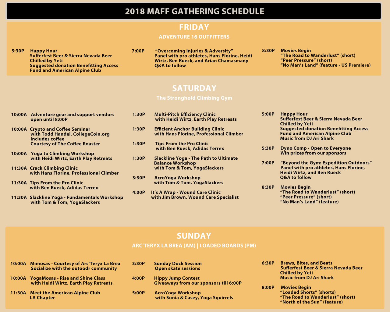 MAFF Gathering Schedule Overview