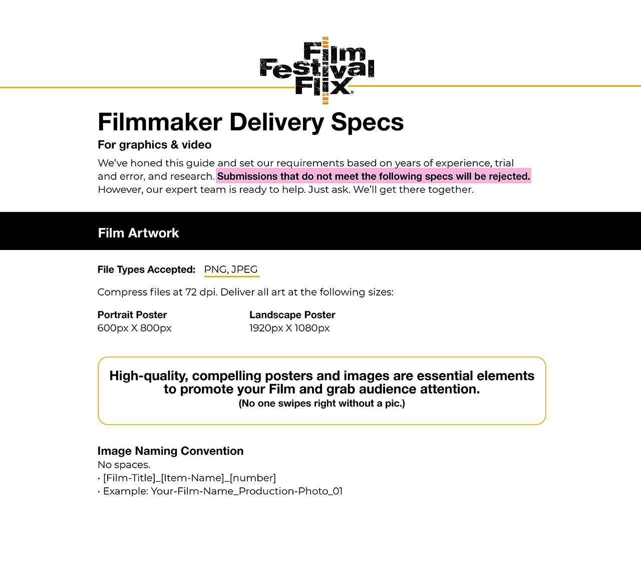 Graphics and Delivery Specs for Films